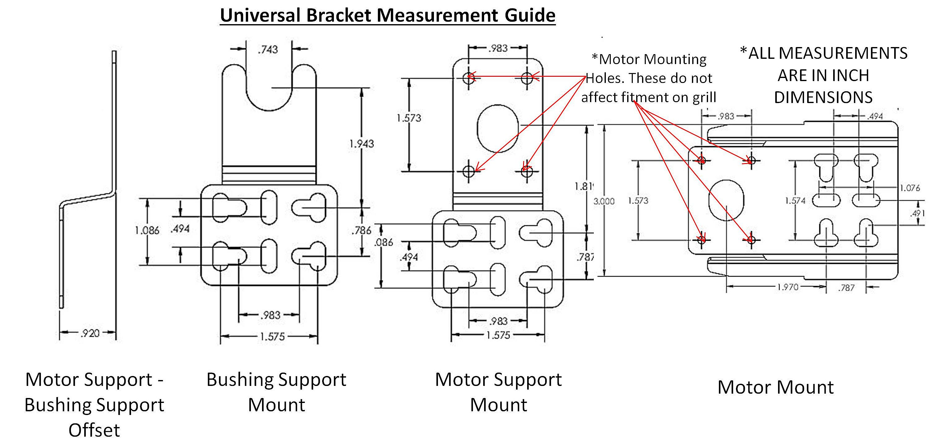 Grill Rotisserie Universal Motor Mounting Bracket Set Chrome